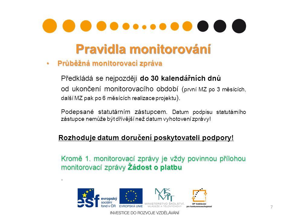 Pravidla monitorování Průběžná monitorovací zprávaPrůběžná monitorovací zpráva Předkládá se nejpozději do 30 kalendářních dnů od ukončení monitorovacího období ( první MZ po 3 měsících, další MZ pak po 6 měsících realizace projektu ).