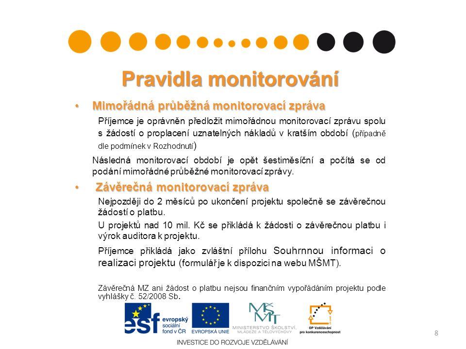 Pravidla monitorování Mimořádná průběžná monitorovací zprávaMimořádná průběžná monitorovací zpráva Příjemce je oprávněn předložit mimořádnou monitorovací zprávu spolu s žádostí o proplacení uznatelných nákladů v kratším období ( případně dle podmínek v Rozhodnutí ) Následná monitorovací období je opět šestiměsíční a počítá se od podání mimořádné průběžné monitorovací zprávy.
