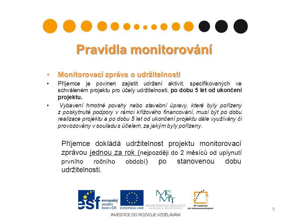 Pravidla monitorování Monitorovací zpráva o udržitelnostiMonitorovací zpráva o udržitelnosti Příjemce je povinen zajistit udržení aktivit, specifikovaných ve schváleném projektu pro účely udržitelnosti, po dobu 5 let od ukončení projektu.