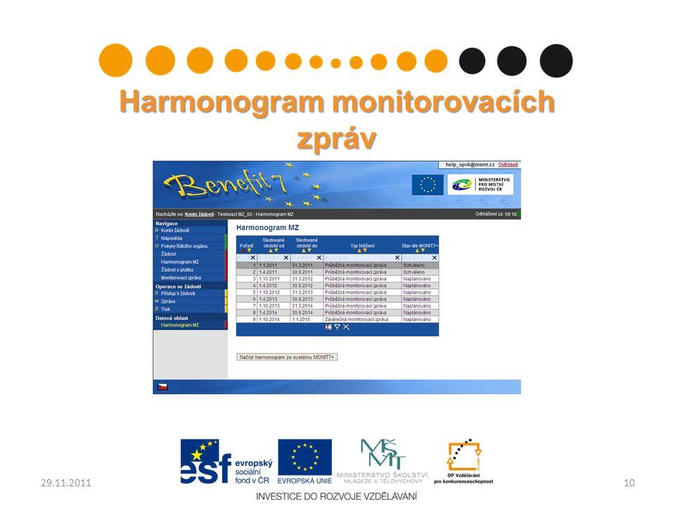 Harmonogram monitorovacích zpráv 1029.11.2011
