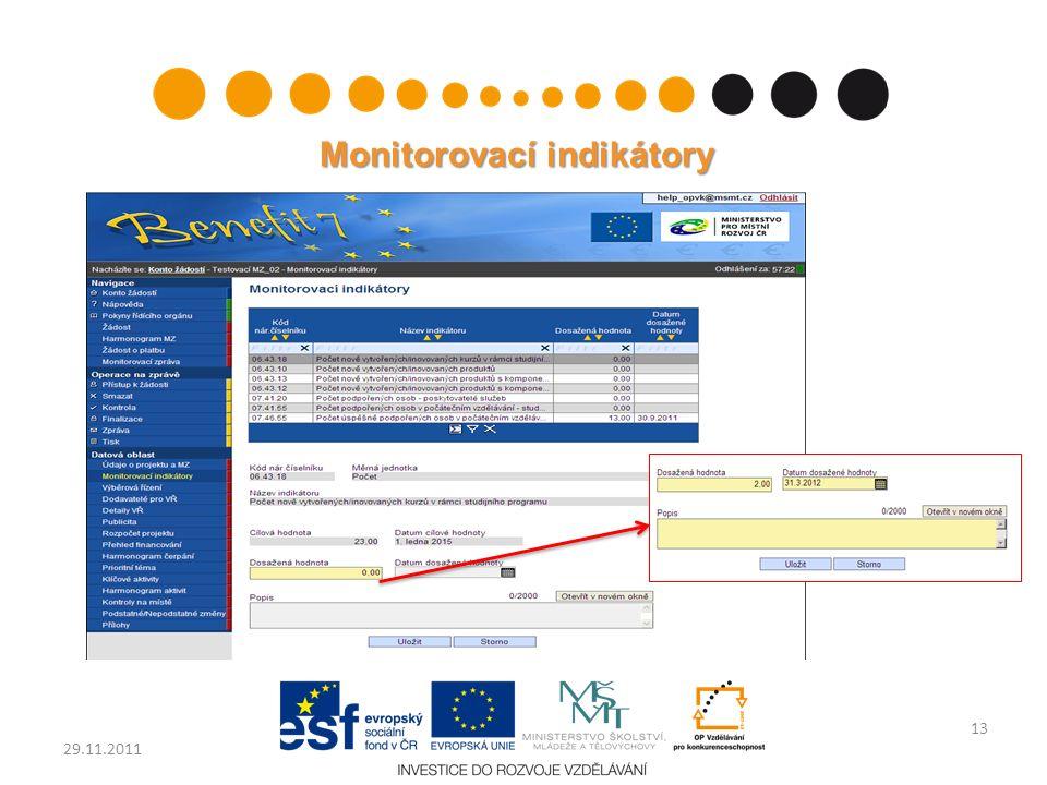 Monitorovací indikátory 13 29.11.2011