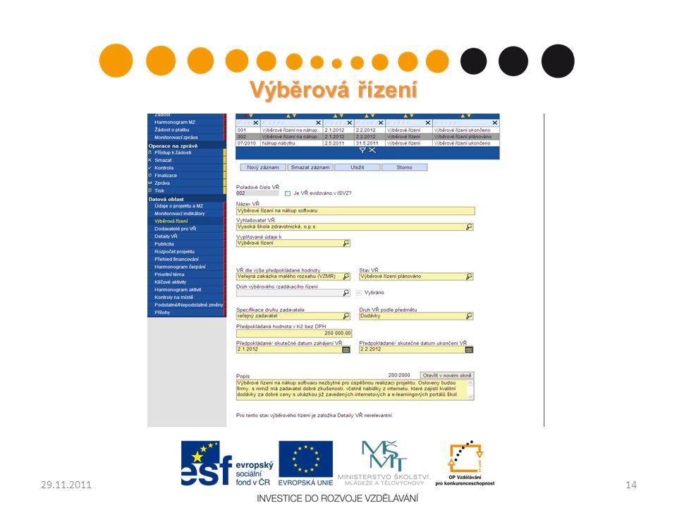 Výběrová řízení 1429.11.2011