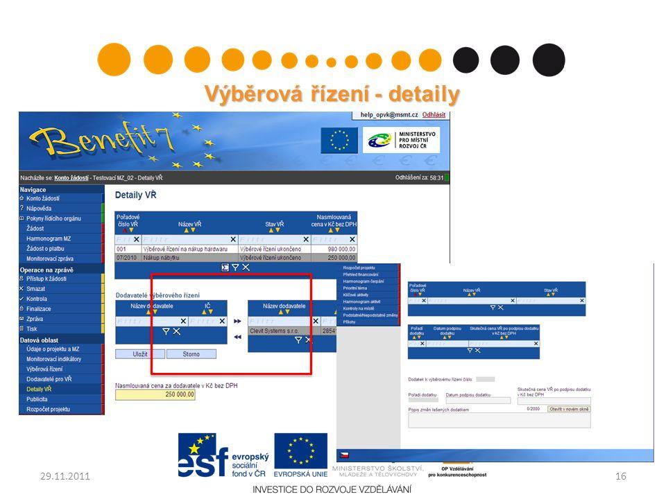 Výběrová řízení - detaily 1629.11.2011