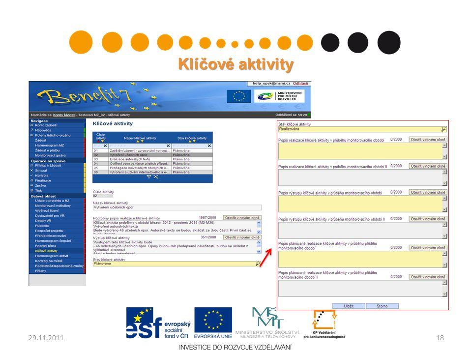 Klíčové aktivity 1829.11.2011