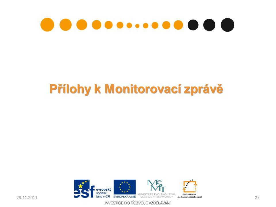 Přílohy k Monitorovací zprávě 2329.11.2011