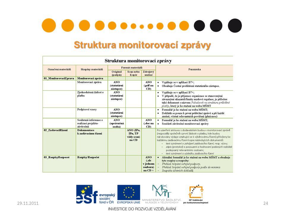 Struktura monitorovací zprávy 2429.11.2011