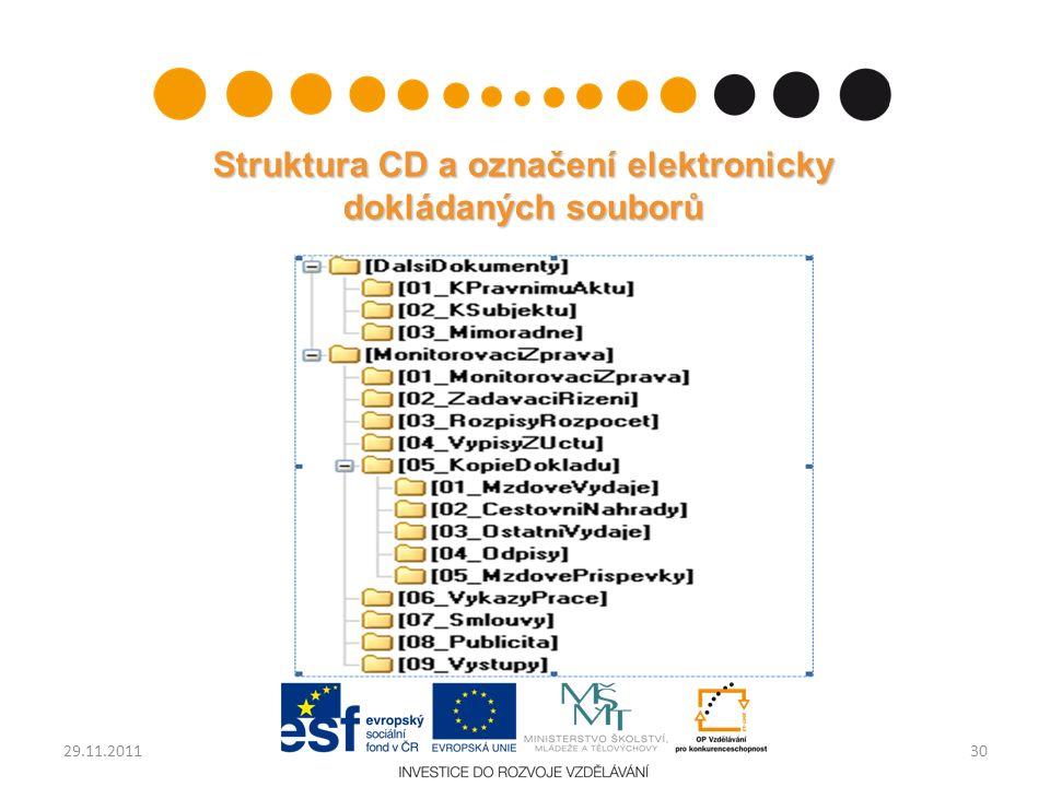 Struktura CD a označení elektronicky dokládaných souborů 3029.11.2011
