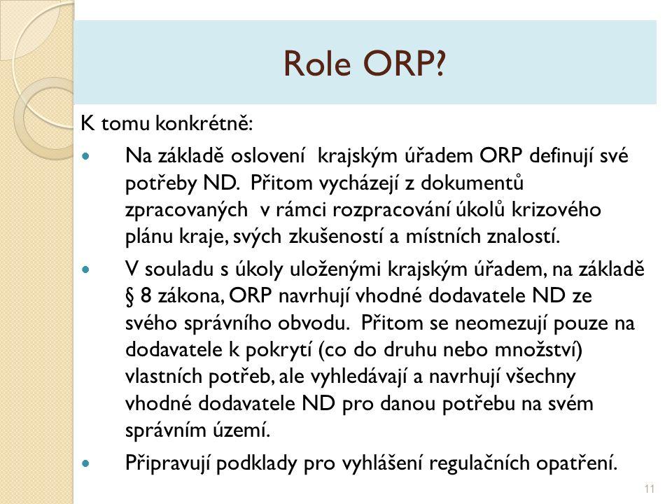 Role ORP. K tomu konkrétně: Na základě oslovení krajským úřadem ORP definují své potřeby ND.