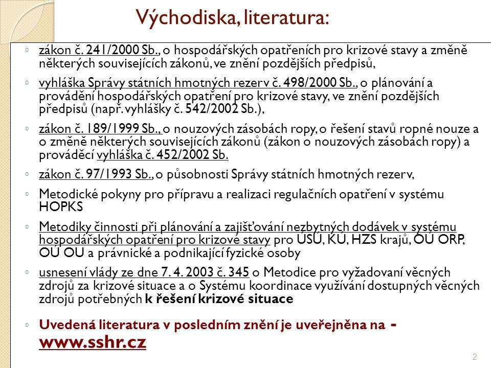 Východiska, literatura: ◦ zákon č.