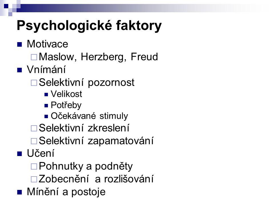 Psychologické faktory Motivace  Maslow, Herzberg, Freud Vnímání  Selektivní pozornost Velikost Potřeby Očekávané stimuly  Selektivní zkreslení  Se