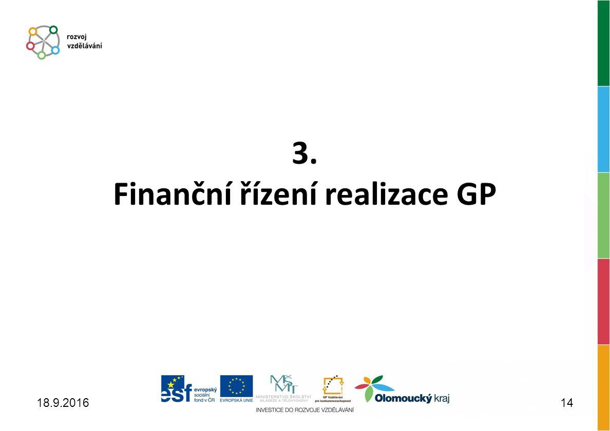 3. Finanční řízení realizace GP 18.9.201614