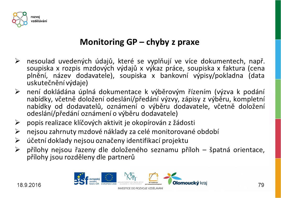 Monitoring GP – chyby z praxe  nesoulad uvedených údajů, které se vyplňují ve více dokumentech, např.