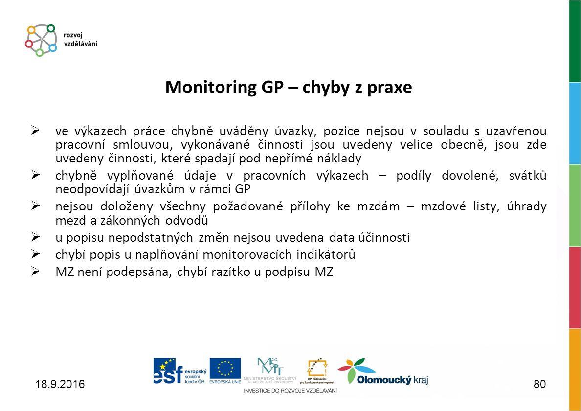 Monitoring GP – chyby z praxe  ve výkazech práce chybně uváděny úvazky, pozice nejsou v souladu s uzavřenou pracovní smlouvou, vykonávané činnosti jsou uvedeny velice obecně, jsou zde uvedeny činnosti, které spadají pod nepřímé náklady  chybně vyplňované údaje v pracovních výkazech – podíly dovolené, svátků neodpovídají úvazkům v rámci GP  nejsou doloženy všechny požadované přílohy ke mzdám – mzdové listy, úhrady mezd a zákonných odvodů  u popisu nepodstatných změn nejsou uvedena data účinnosti  chybí popis u naplňování monitorovacích indikátorů  MZ není podepsána, chybí razítko u podpisu MZ 18.9.201680