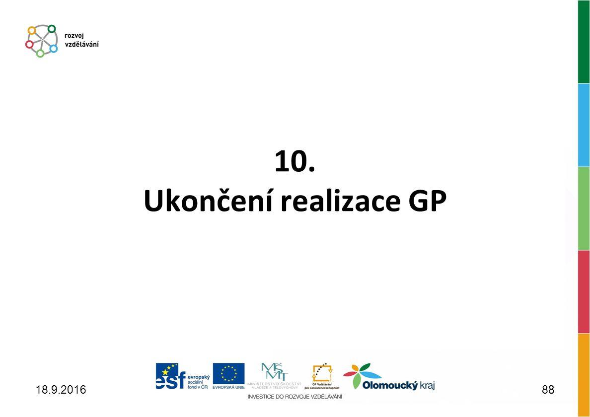 10. Ukončení realizace GP 18.9.201688