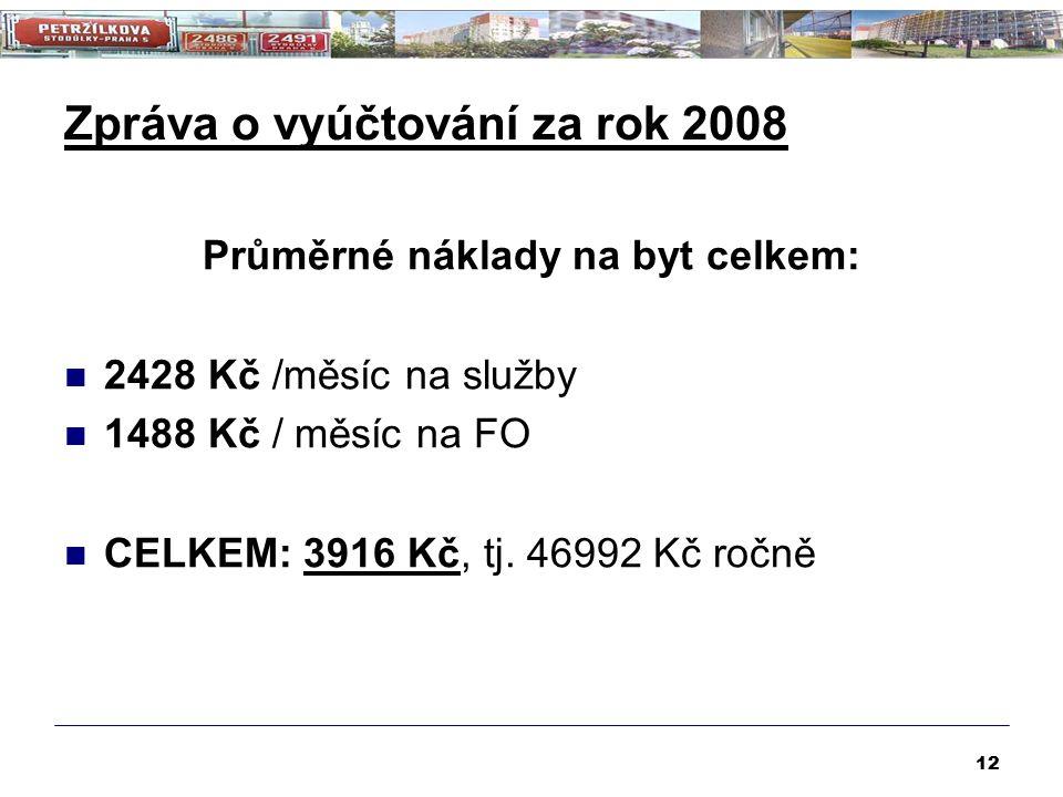 Zpráva o vyúčtování za rok 2008 Průměrné náklady na byt celkem: 2428 Kč /měsíc na služby 1488 Kč / měsíc na FO CELKEM: 3916 Kč, tj. 46992 Kč ročně 12