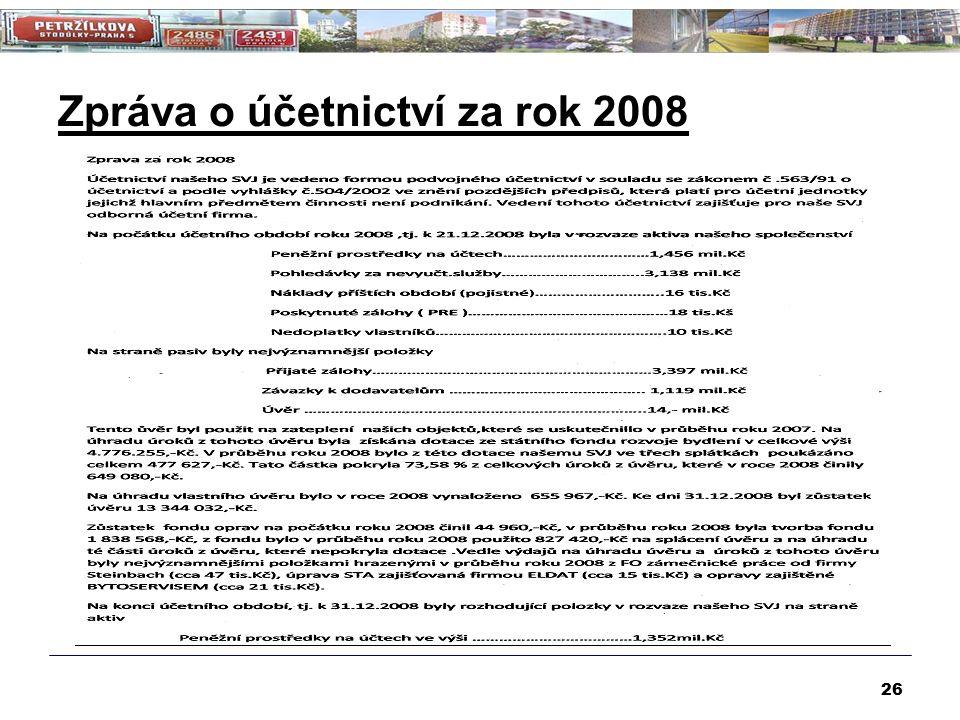 Zpráva o účetnictví za rok 2008 26