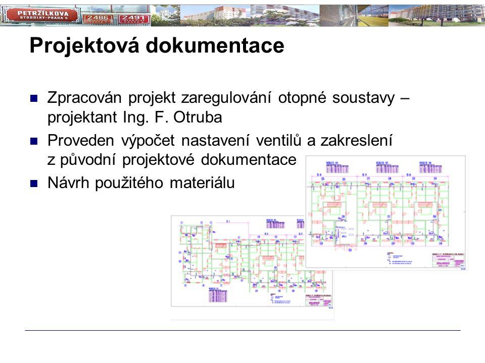 Projektová dokumentace Zpracován projekt zaregulování otopné soustavy – projektant Ing. F. Otruba Proveden výpočet nastavení ventilů a zakreslení z pů