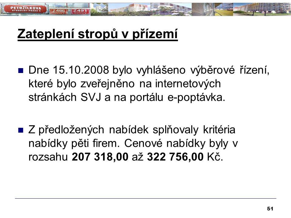 Zateplení stropů v přízemí 51 Dne 15.10.2008 bylo vyhlášeno výběrové řízení, které bylo zveřejněno na internetových stránkách SVJ a na portálu e-poptávka.