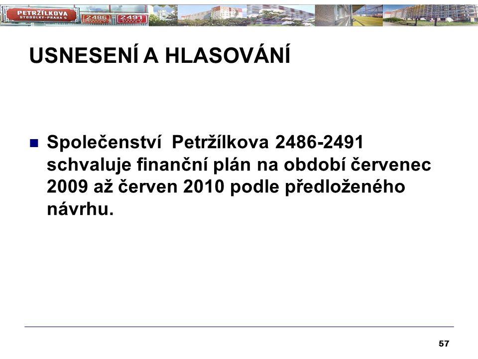 USNESENÍ A HLASOVÁNÍ Společenství Petržílkova 2486-2491 schvaluje finanční plán na období červenec 2009 až červen 2010 podle předloženého návrhu. 57