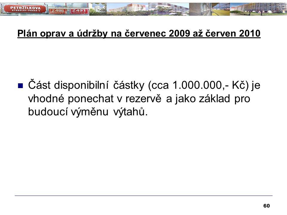 Plán oprav a údržby na červenec 2009 až červen 2010 Část disponibilní částky (cca 1.000.000,- Kč) je vhodné ponechat v rezervě a jako základ pro budoucí výměnu výtahů.