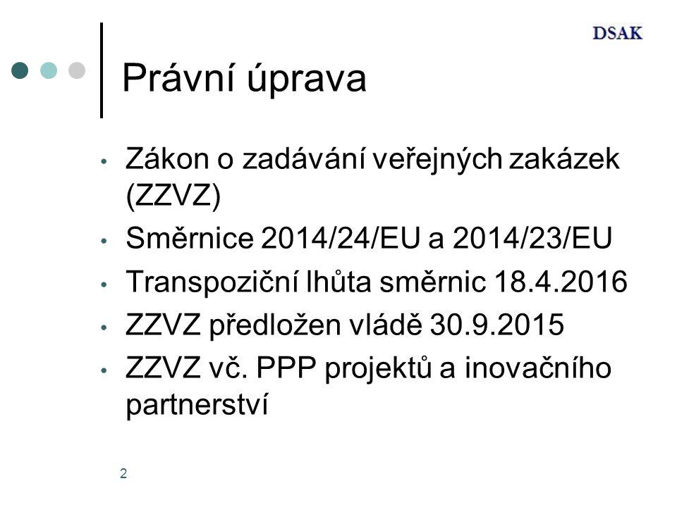 2 Právní úprava Zákon o zadávání veřejných zakázek (ZZVZ) Směrnice 2014/24/EU a 2014/23/EU Transpoziční lhůta směrnic 18.4.2016 ZZVZ předložen vládě 30.9.2015 ZZVZ vč.
