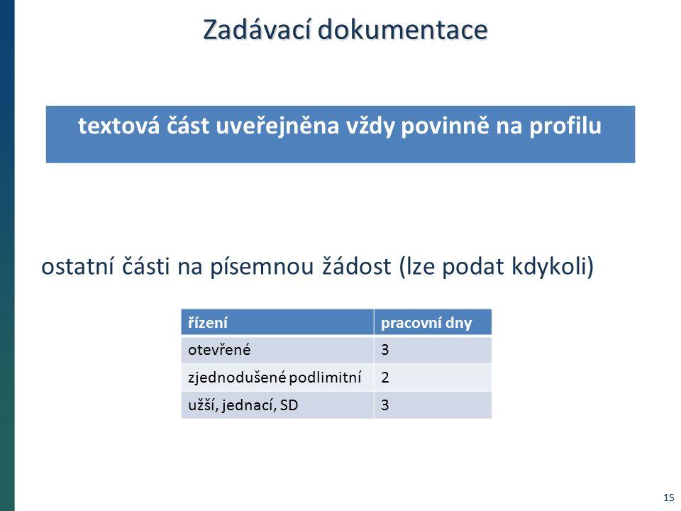Zadávací dokumentace ostatní části na písemnou žádost (lze podat kdykoli) řízenípracovní dny otevřené3 zjednodušené podlimitní2 užší, jednací, SD3 textová část uveřejněna vždy povinně na profilu 15