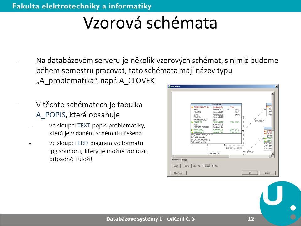 Databázové systémy I - cvičení č. 5 12 Vzorová schémata -Na databázovém serveru je několik vzorových schémat, s nimiž budeme během semestru pracovat,