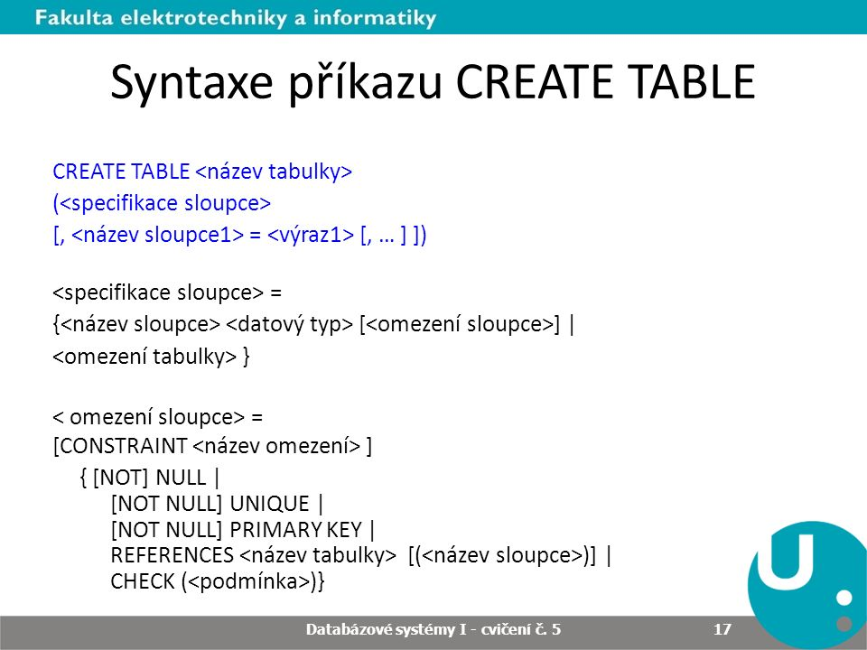 Syntaxe příkazu CREATE TABLE CREATE TABLE ( [, = [, … ] ]) = { [ ] | } = [CONSTRAINT ] { [NOT] NULL | [NOT NULL] UNIQUE | [NOT NULL] PRIMARY KEY | REFERENCES [( )] | CHECK ( )} Databázové systémy I - cvičení č.