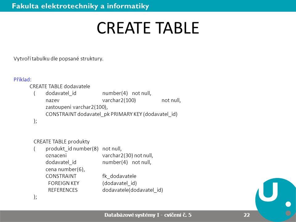 CREATE TABLE Vytvoří tabulku dle popsané struktury. Příklad: CREATE TABLE dodavatele ( dodavatel_id number(4) not null, nazev varchar2(100) not null,