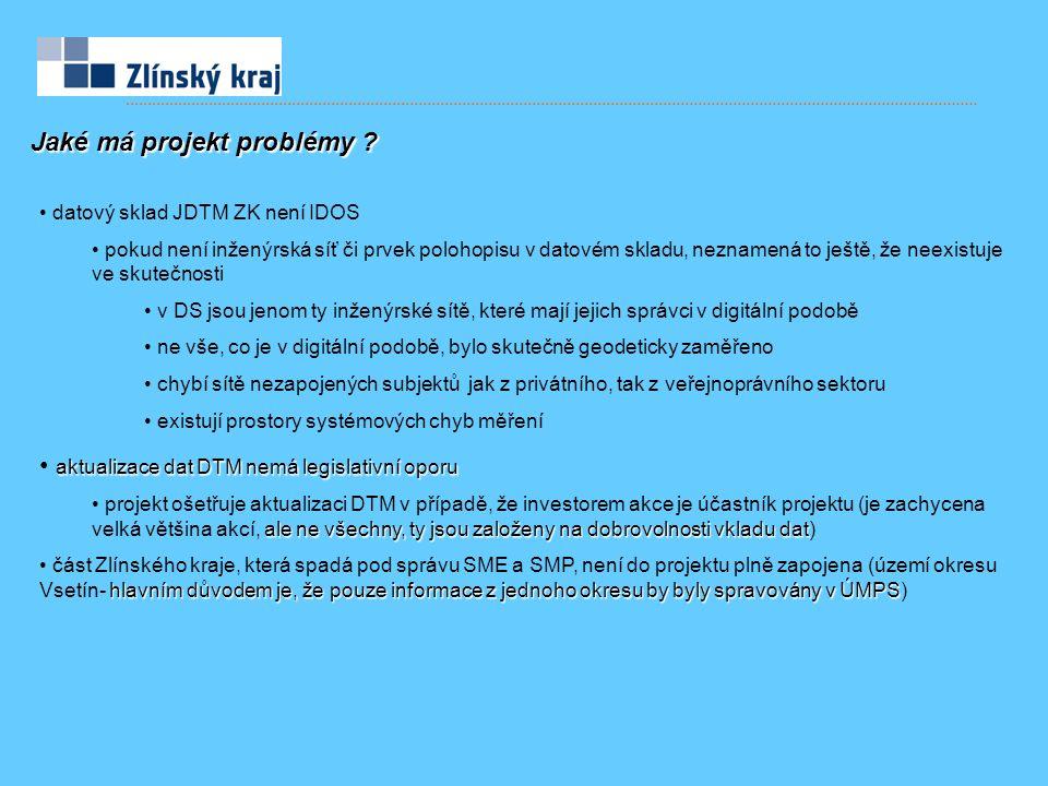 Jaké má projekt problémy ? datový sklad JDTM ZK není IDOS pokud není inženýrská síť či prvek polohopisu v datovém skladu, neznamená to ještě, že neexi