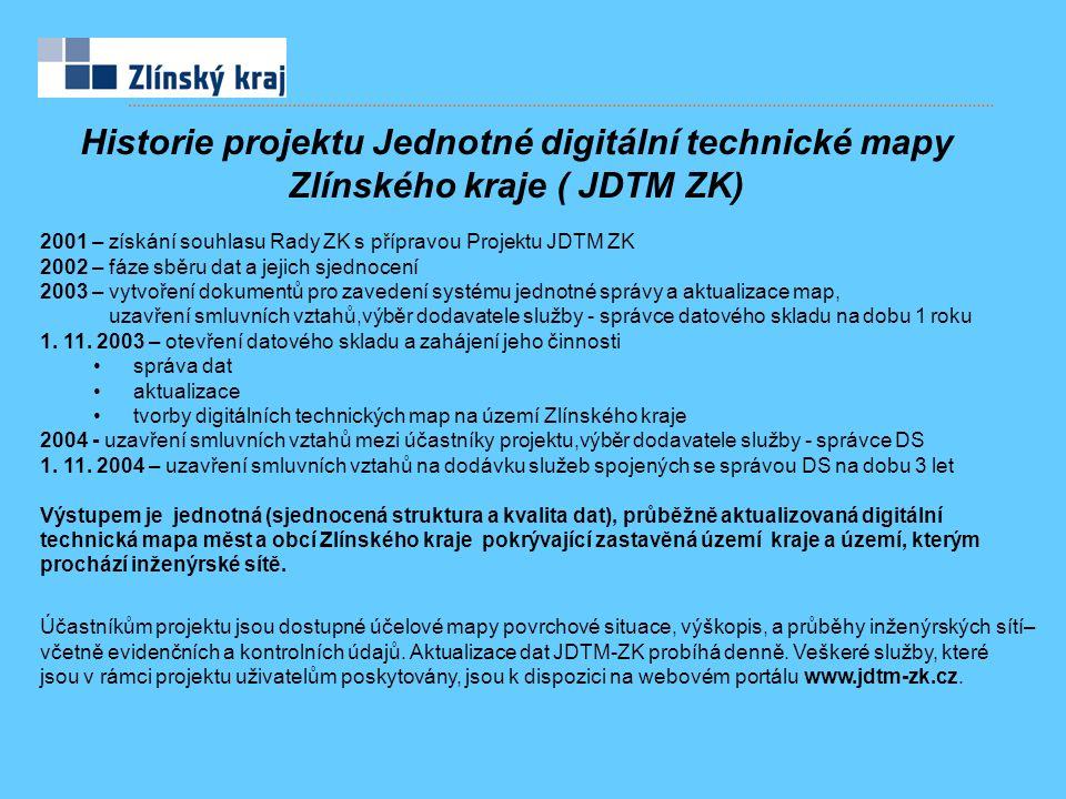 2001 – získání souhlasu Rady ZK s přípravou Projektu JDTM ZK 2002 – fáze sběru dat a jejich sjednocení 2003 – vytvoření dokumentů pro zavedení systému jednotné správy a aktualizace map, uzavření smluvních vztahů,výběr dodavatele služby - správce datového skladu na dobu 1 roku 1.
