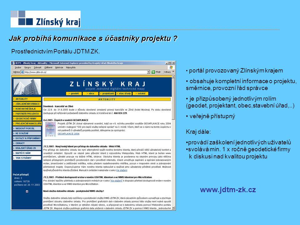 portál provozovaný Zlínským krajem obsahuje kompletní informace o projektu, směrnice, provozní řád správce je přizpůsobený jednotlivým rolím (geodet,