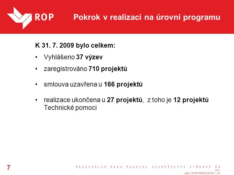 Pokrok v realizaci na úrovni programu K 31. 7.