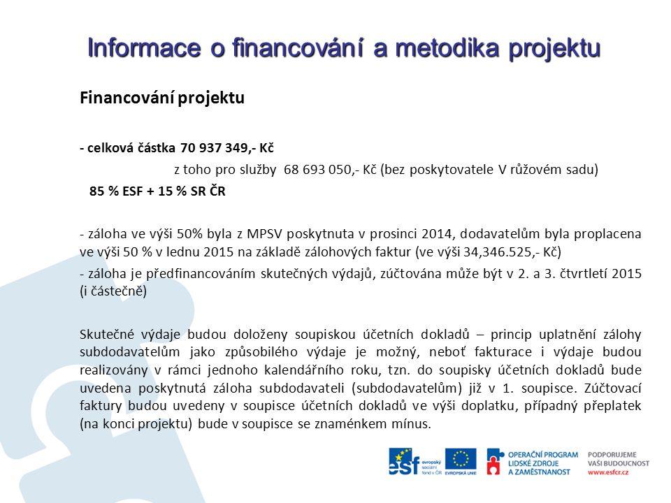 Informace o financování a metodika projektu Financování projektu - celková částka 70 937 349,- Kč z toho pro služby 68 693 050,- Kč (bez poskytovatele V růžovém sadu) 85 % ESF + 15 % SR ČR - záloha ve výši 50% byla z MPSV poskytnuta v prosinci 2014, dodavatelům byla proplacena ve výši 50 % v lednu 2015 na základě zálohových faktur (ve výši 34,346.525,- Kč) - záloha je předfinancováním skutečných výdajů, zúčtována může být v 2.