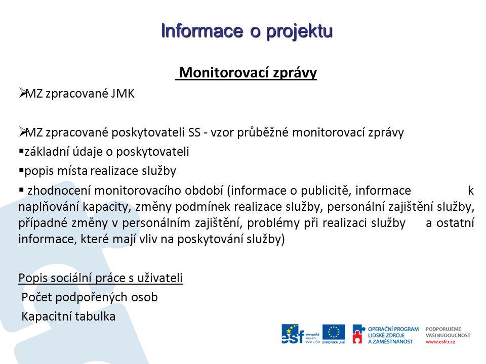 Informace o projektu Monitorovací zprávy  MZ zpracované JMK  MZ zpracované poskytovateli SS - vzor průběžné monitorovací zprávy  základní údaje o poskytovateli  popis místa realizace služby  zhodnocení monitorovacího období (informace o publicitě, informace k naplňování kapacity, změny podmínek realizace služby, personální zajištění služby, případné změny v personálním zajištění, problémy při realizaci služby a ostatní informace, které mají vliv na poskytování služby) Popis sociální práce s uživateli Počet podpořených osob Kapacitní tabulka