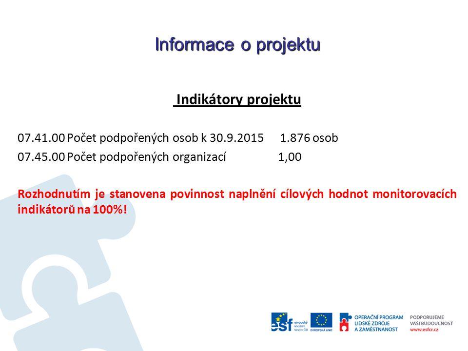 Informace o projektu Indikátory projektu 07.41.00 Počet podpořených osob k 30.9.2015 1.876 osob 07.45.00 Počet podpořených organizací 1,00 Rozhodnutím je stanovena povinnost naplnění cílových hodnot monitorovacích indikátorů na 100%!
