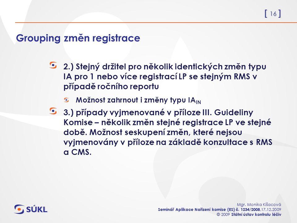 [ 16 ] Mgr. Monika Kišacová Seminář Aplikace Nařízení komise (ES) č.