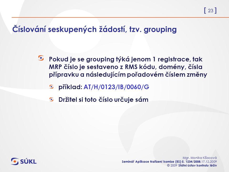 [ 23 ] Mgr. Monika Kišacová Seminář Aplikace Nařízení komise (ES) č.