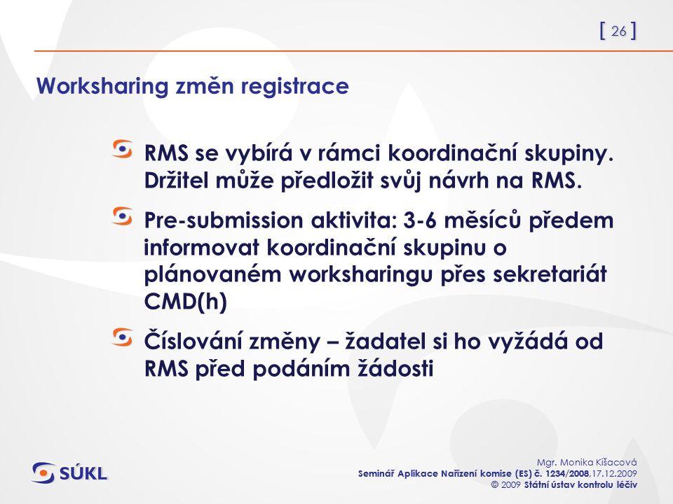 [ 26 ] Mgr. Monika Kišacová Seminář Aplikace Nařízení komise (ES) č.