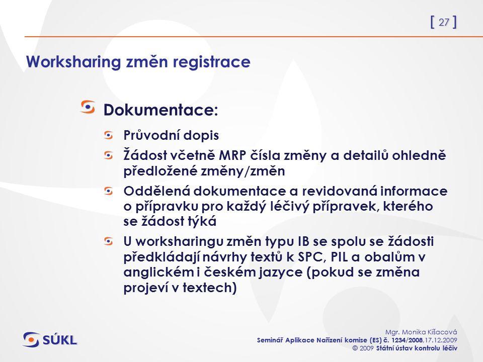 [ 27 ] Mgr. Monika Kišacová Seminář Aplikace Nařízení komise (ES) č.