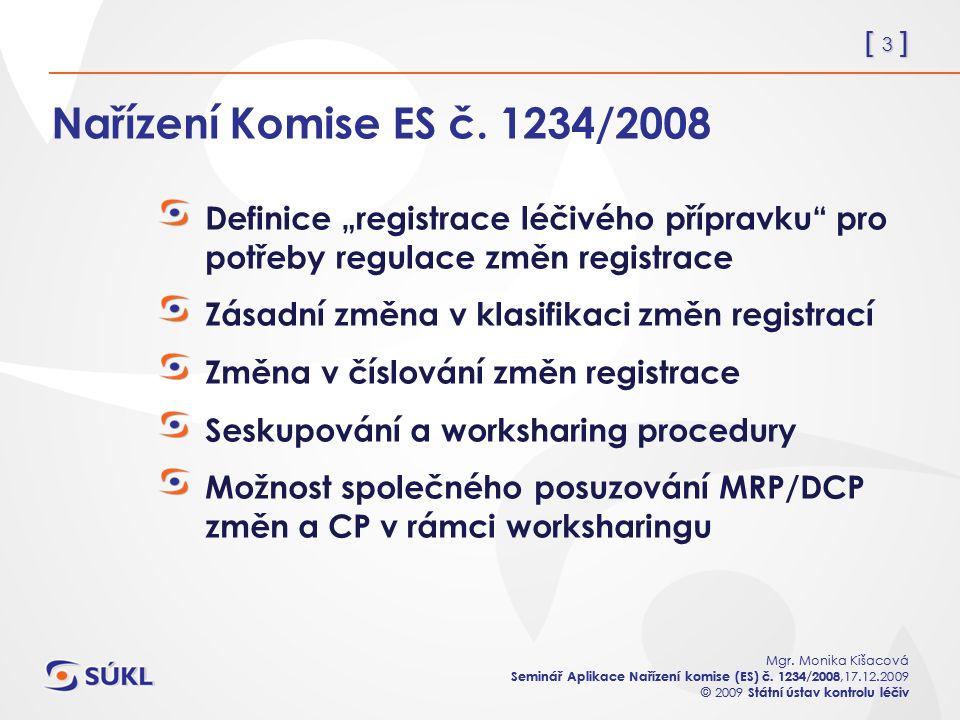 [ 3 ] Mgr. Monika Kišacová Seminář Aplikace Nařízení komise (ES) č. 1234/2008,17.12.2009 © 2009 Státní ústav kontrolu léčiv [ 3 ] Mgr. Monika Kišacová