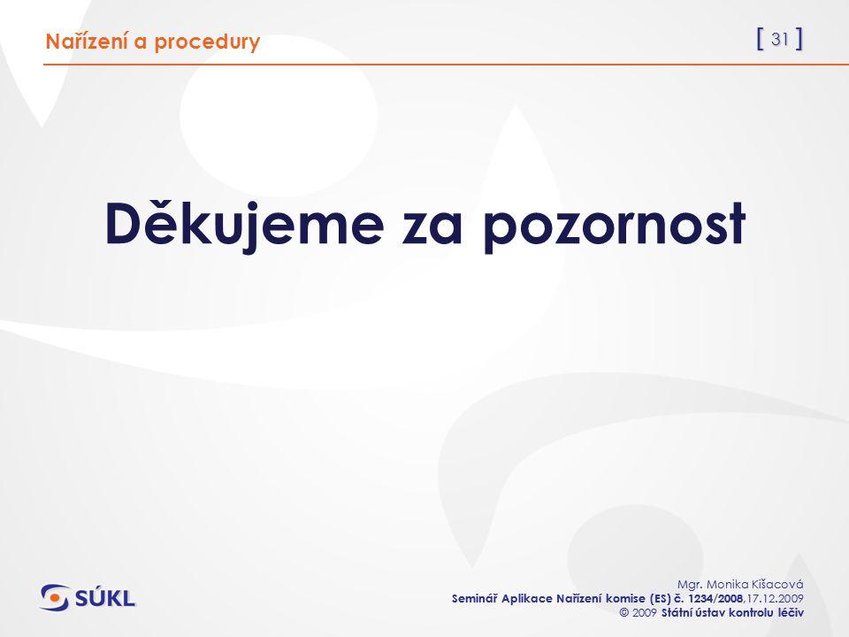 [ 31 ] Mgr. Monika Kišacová Seminář Aplikace Nařízení komise (ES) č. 1234/2008,17.12.2009 © 2009 Státní ústav kontrolu léčiv [ 31 ] Mgr. Monika Kišaco