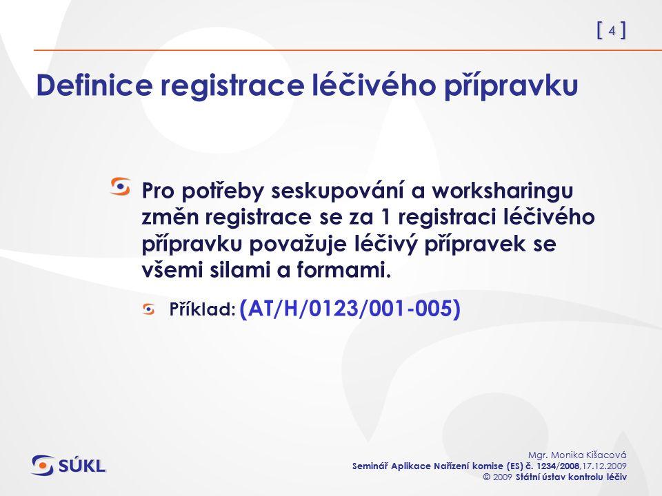 [ 4 ] Mgr. Monika Kišacová Seminář Aplikace Nařízení komise (ES) č. 1234/2008,17.12.2009 © 2009 Státní ústav kontrolu léčiv [ 4 ] Mgr. Monika Kišacová