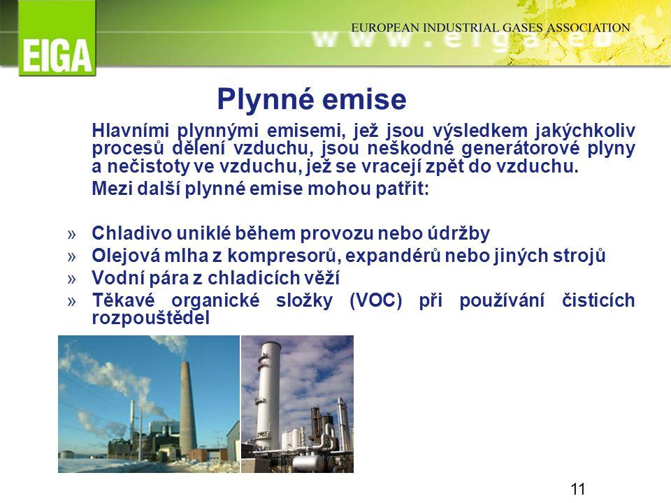 11 Hlavními plynnými emisemi, jež jsou výsledkem jakýchkoliv procesů dělení vzduchu, jsou neškodné generátorové plyny a nečistoty ve vzduchu, jež se v