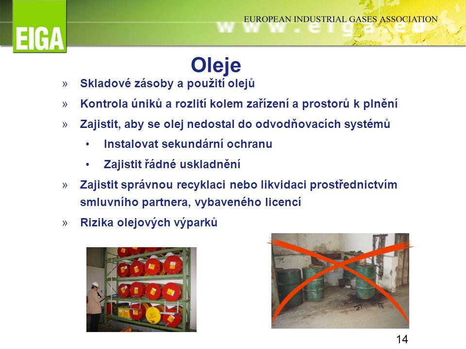 14 Oleje »Skladové zásoby a použití olejů »Kontrola úniků a rozlití kolem zařízení a prostorů k plnění »Zajistit, aby se olej nedostal do odvodňovacíc