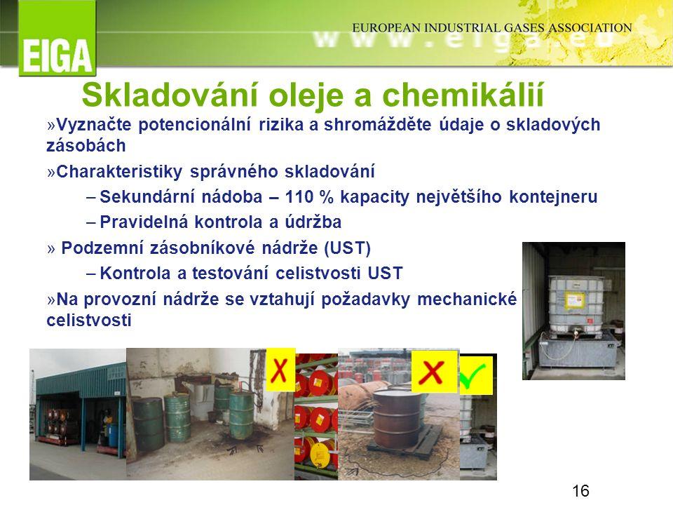 16 Skladování oleje a chemikálií »Vyznačte potencionální rizika a shromážděte údaje o skladových zásobách »Charakteristiky správného skladování –Sekun