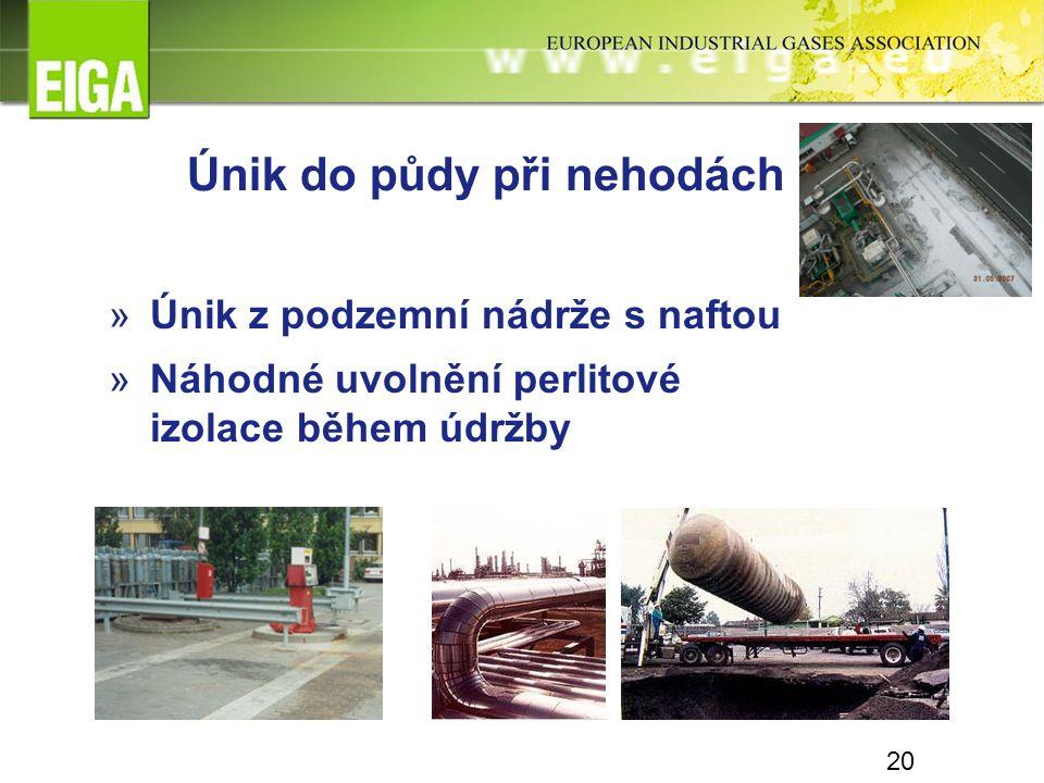 20 Únik do půdy při nehodách »Únik z podzemní nádrže s naftou »Náhodné uvolnění perlitové izolace během údržby