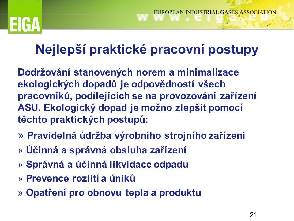 21 Nejlepší praktické pracovní postupy Dodržování stanovených norem a minimalizace ekologických dopadů je odpovědností všech pracovníků, podílejících