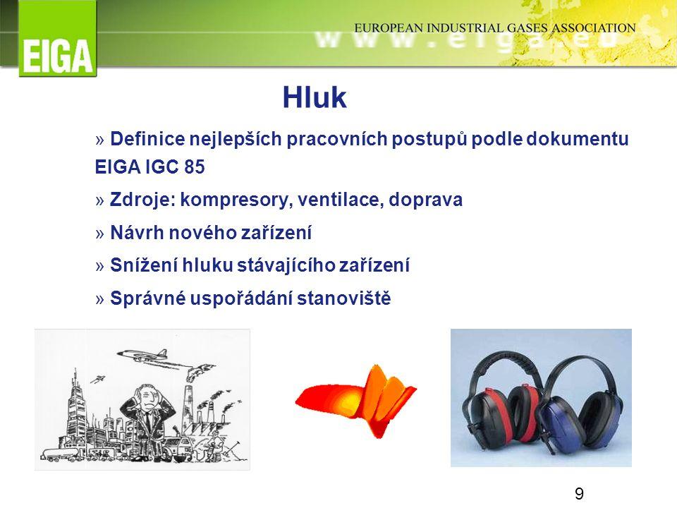 9 » Definice nejlepších pracovních postupů podle dokumentu EIGA IGC 85 » Zdroje: kompresory, ventilace, doprava » Návrh nového zařízení » Snížení hluk
