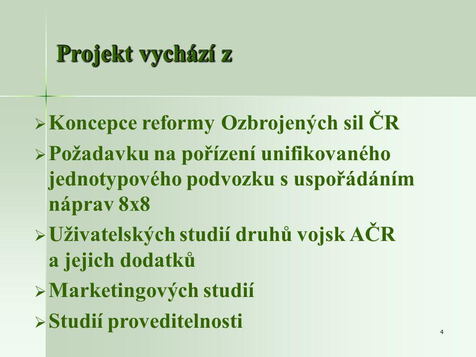 4 Projekt vychází z   Koncepce reformy Ozbrojených sil ČR   Požadavku na pořízení unifikovaného jednotypového podvozku s uspořádáním náprav 8x8 